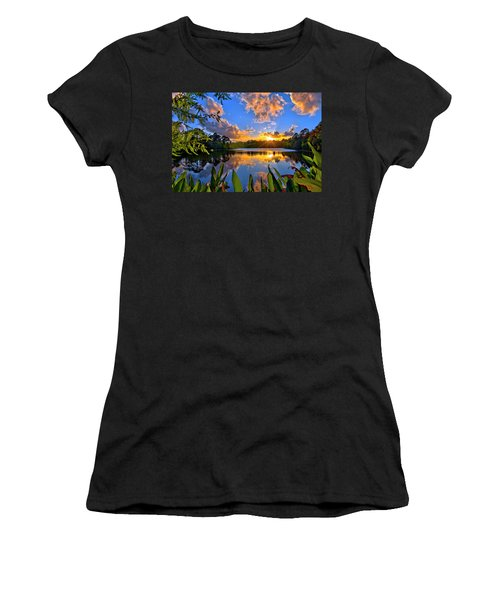 Sunset Over Hidden Lake In Jupiter Florida Women's T-Shirt (Athletic Fit)