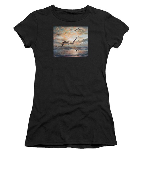 Sunset Over The Sea Women's T-Shirt (Athletic Fit)
