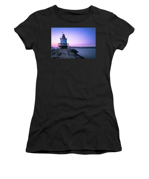 Sunset Over Spring Breakwater Lighthouse In South Maine Women's T-Shirt