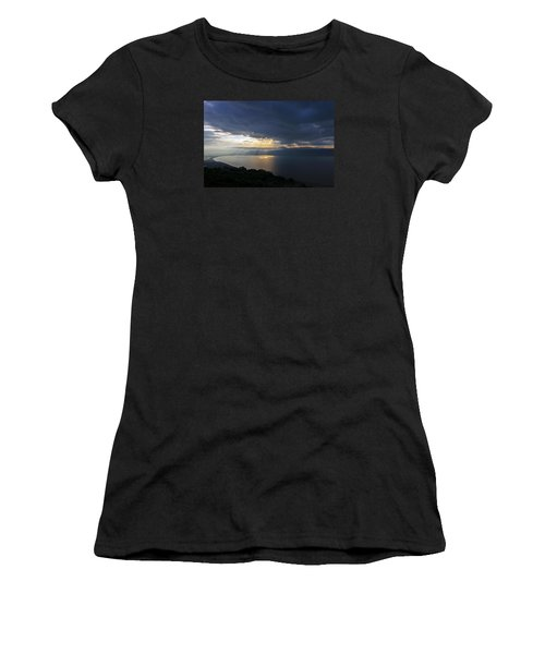 Women's T-Shirt (Junior Cut) featuring the photograph Sunset Over The Sea Of Galilee by Dubi Roman