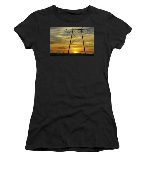 Sunset Power Lines Women's T-Shirt (Athletic Fit)