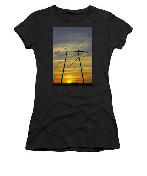Sunset Power Poles Women's T-Shirt (Athletic Fit)