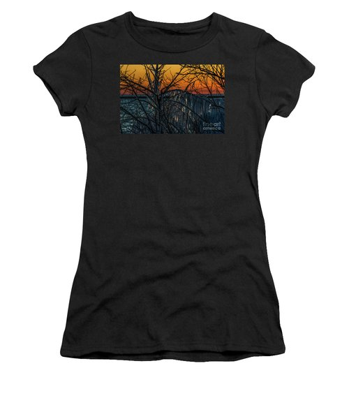 Sunset Reflecting Off Ice On Bare Trees Women's T-Shirt