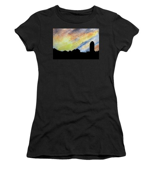 Sunset Silhouetted Farmstead Women's T-Shirt (Junior Cut) by R Kyllo