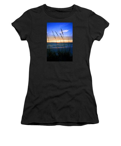 Sunset Thru The Sea Oats At Delnor Wiggins Women's T-Shirt (Athletic Fit)
