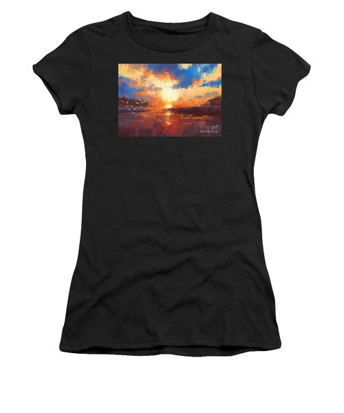 Women's T-Shirt featuring the painting Sunset by Tithi Luadthong