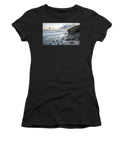 Sunset View In The Distance With Large Rocks On The Beach Women's T-Shirt