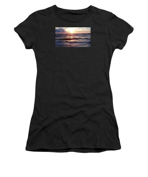 Sunset Waves 1 Women's T-Shirt (Junior Cut) by Vicky Tarcau
