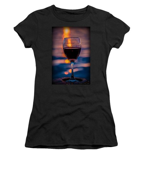 Women's T-Shirt (Athletic Fit) featuring the photograph Sunset Wine by Michaela Preston