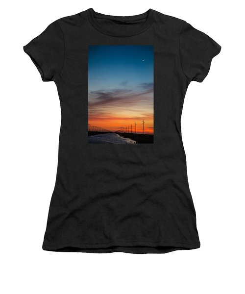 Sunset With Moon Sliver Women's T-Shirt (Athletic Fit)