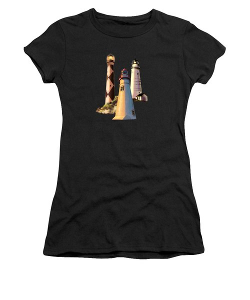 Sunset With Ohio Marble Head Lighthouse Women's T-Shirt