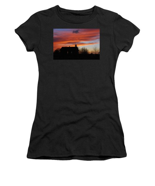 Sunsetting Behind The Historic Schoolhouse. Women's T-Shirt (Athletic Fit)