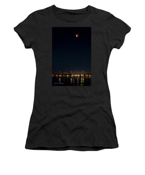 Super Blood Moon Over Ventura, California Pier Women's T-Shirt