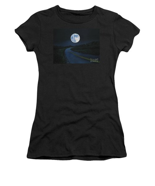 Super Moon At The End Of The Road Women's T-Shirt