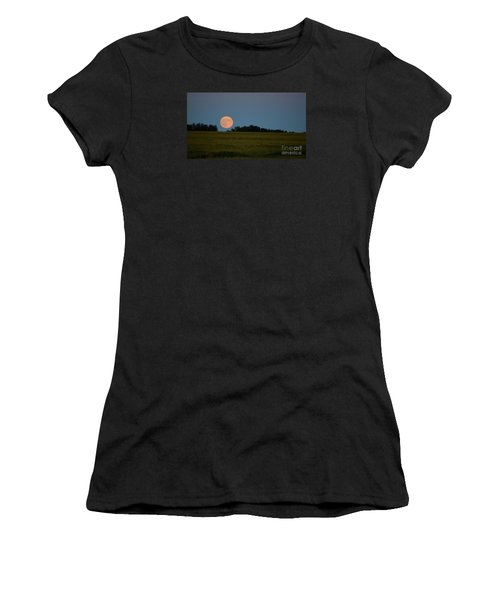 Super Moon Over A Bean Field Women's T-Shirt (Athletic Fit)