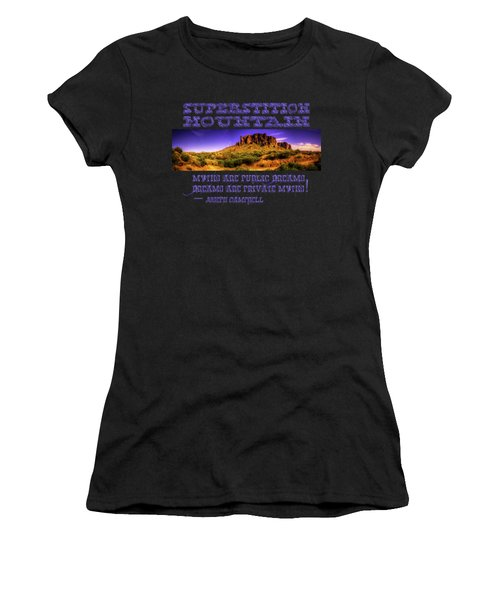 Superstition Mountains In Panorama Late Afternoon Women's T-Shirt (Athletic Fit)