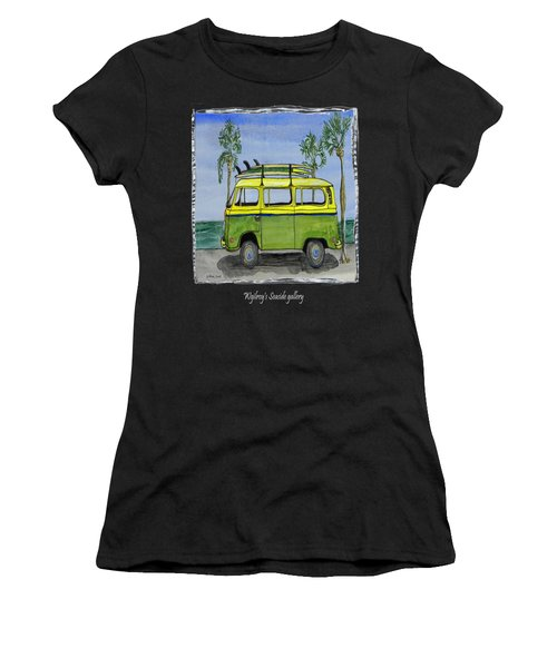 Surf Art Vw Bus And Long Boards  Women's T-Shirt