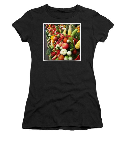 Women's T-Shirt featuring the photograph Surin Elephant Buffet by Mr Photojimsf