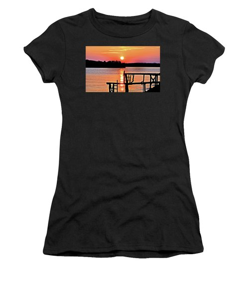 Surreal Smith Mountain Lake Dock Sunset Women's T-Shirt (Athletic Fit)