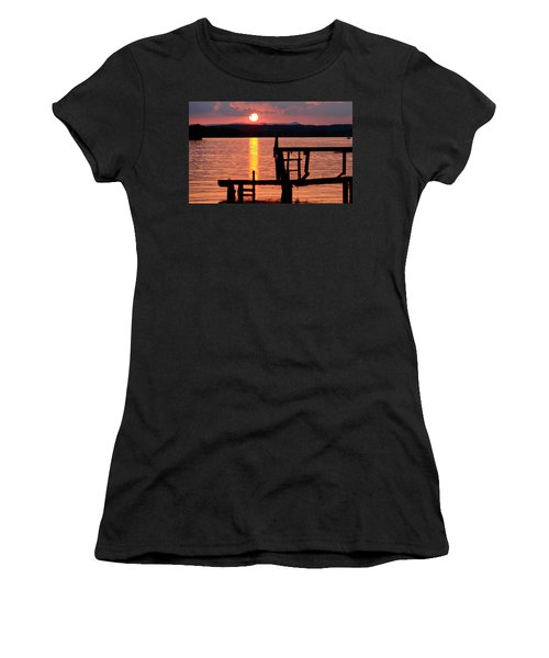 Surreal Smith Mountain Lake Dockside Sunset 2 Women's T-Shirt (Athletic Fit)