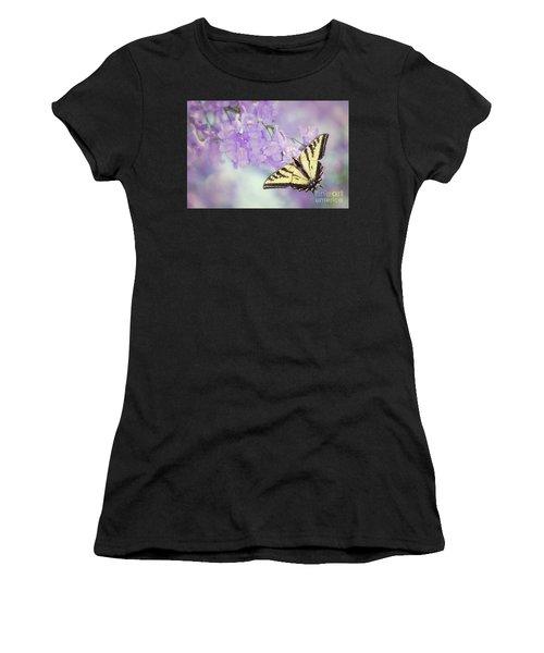 Swallowtail On Purple Flowers Women's T-Shirt (Athletic Fit)