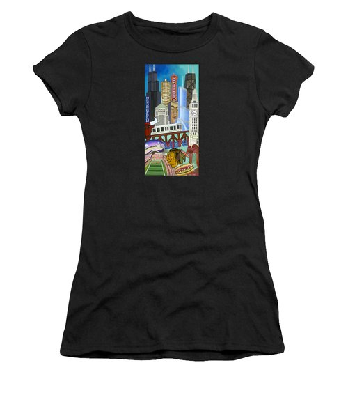 Women's T-Shirt featuring the painting Sweet Home Chicago by Carla Bank