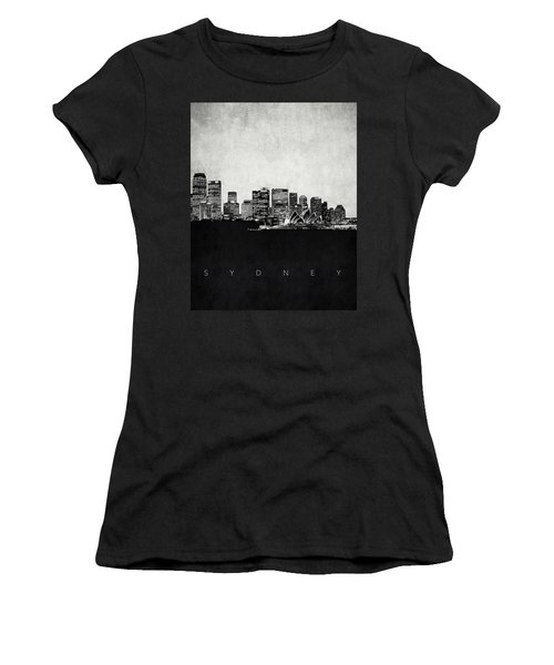 Sydney City Skyline With Opera House Women's T-Shirt (Junior Cut) by World Art Prints And Designs