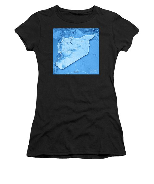 Syria Country 3d Render Topographic Map Blue Border Women's T-Shirt