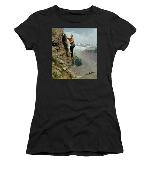 T-902901 Fred Beckey Climbing Women's T-Shirt (Athletic Fit)