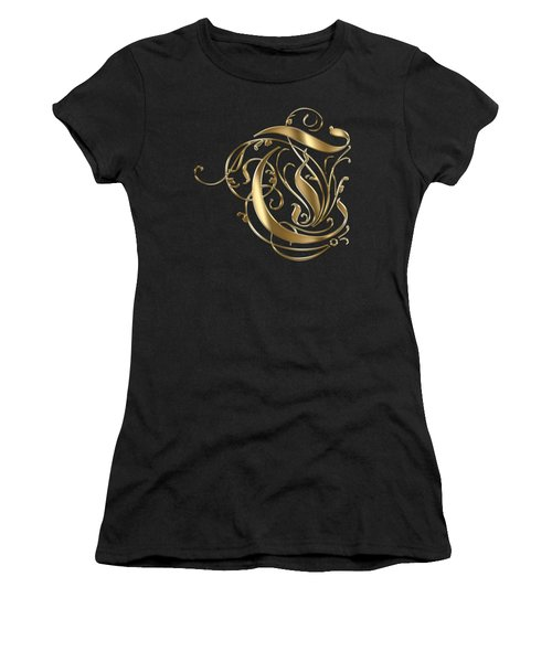 T Golden Ornamental Letter Typography Women's T-Shirt