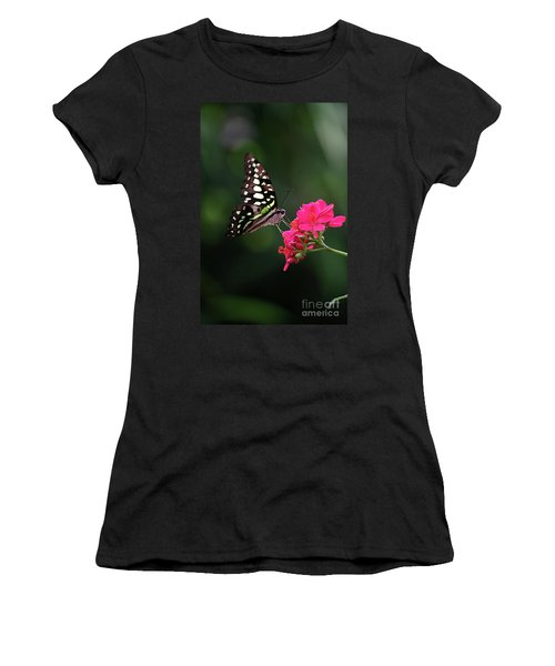 Tailed Jay Butterfly -graphium Agamemnon- On Pink Flower Women's T-Shirt
