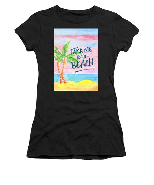 Take Me To The Beach Palm Trees Watercolor Painting Women's T-Shirt