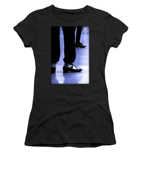 Tap Dance In Blue Are Shoes Tapping In A Dance Academy Women's T-Shirt (Junior Cut) by Pedro Cardona