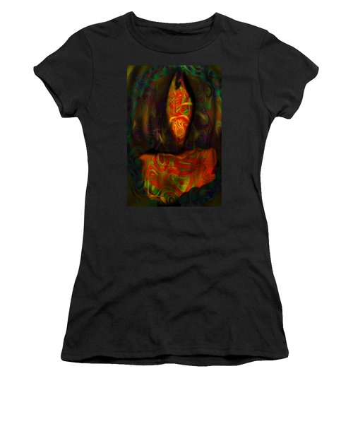 Women's T-Shirt (Junior Cut) featuring the painting Tarot Candle by Kevin Caudill
