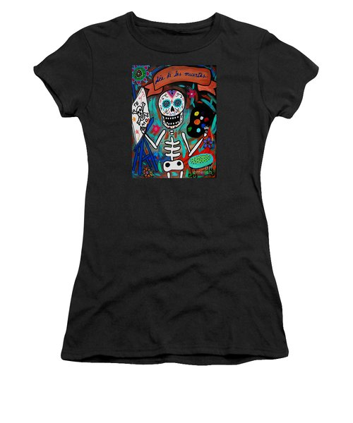 Women's T-Shirt (Junior Cut) featuring the painting Te Amo Painter Dia De Los Muertos by Pristine Cartera Turkus