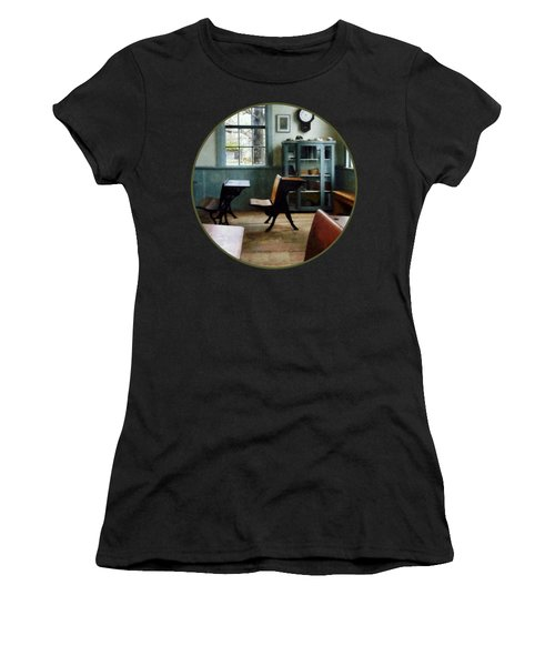 Teacher - One Room Schoolhouse With Clock Women's T-Shirt (Junior Cut) by Susan Savad