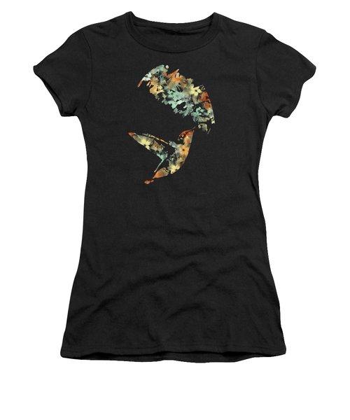Floral Hummingbird Art Women's T-Shirt (Junior Cut)