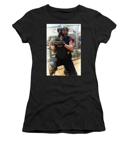 Temple University Bullpen Catcher Women's T-Shirt (Junior Cut) by Mike Martin