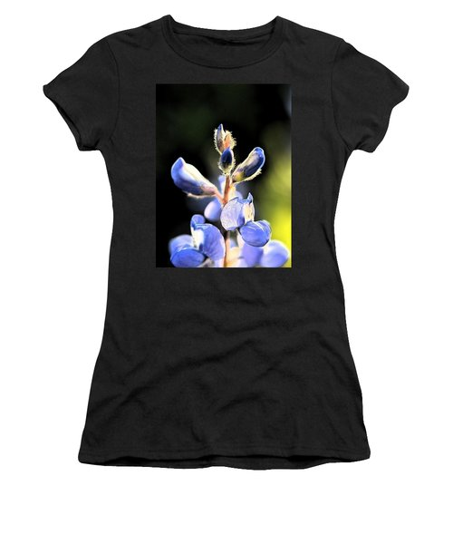 Women's T-Shirt (Junior Cut) featuring the photograph Texas Blue Bonnet Impressions 1 by Carolina Liechtenstein