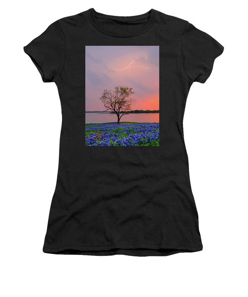 Women's T-Shirt (Athletic Fit) featuring the photograph Texas Bluebonnets And Lightning by Robert Bellomy