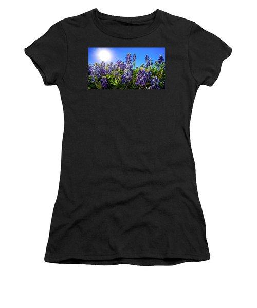 Texas Bluebonnets Backlit II Women's T-Shirt (Junior Cut) by Greg Reed