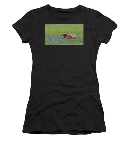 Women's T-Shirt (Athletic Fit) featuring the photograph Texas Longhorn And Bluebonnets by Robert Bellomy