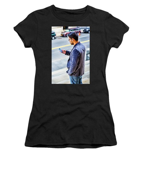Man Texting Women's T-Shirt