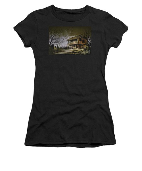 Women's T-Shirt featuring the painting The Abandoned House by Tithi Luadthong
