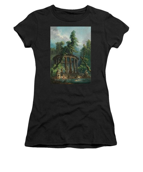 Women's T-Shirt featuring the painting The Bathing Pool by Hubert Robert