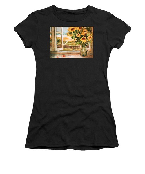 The Beach Sunflowers Women's T-Shirt (Athletic Fit)