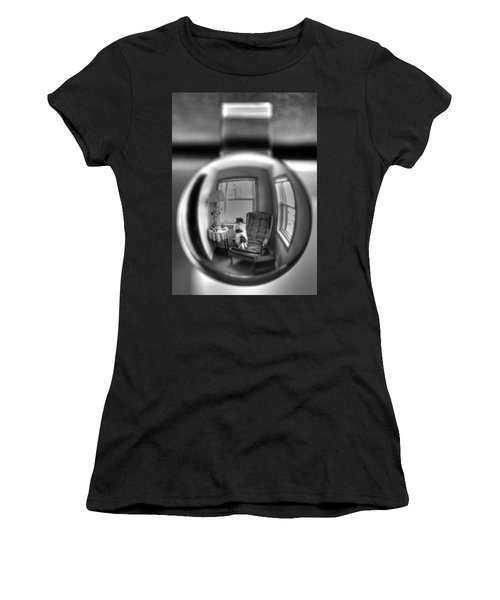 The Black And White Globe Dog Women's T-Shirt (Athletic Fit)