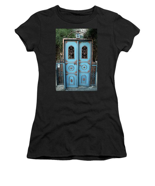 Women's T-Shirt (Junior Cut) featuring the photograph The Blue And Gold Door Of Jerusalem by Yoel Koskas