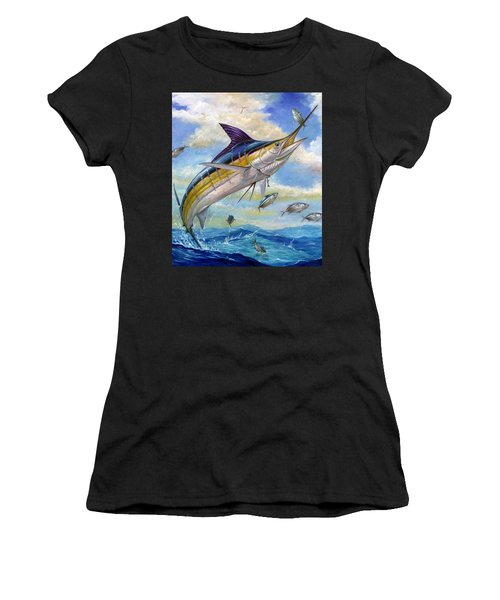 The Blue Marlin Leaping To Eat Women's T-Shirt