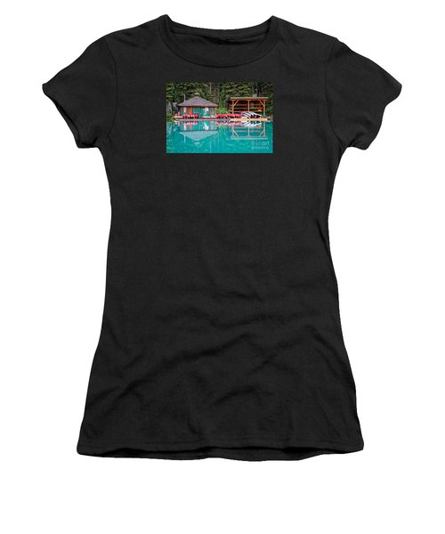 The Boat House At Emerald Lake In Yoho National Park Women's T-Shirt (Athletic Fit)